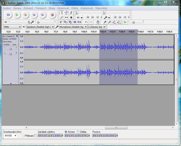 Audio rozbor rezonanční nahrávky štěstí