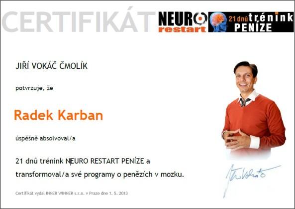 Certifikát Neurorestart peníze